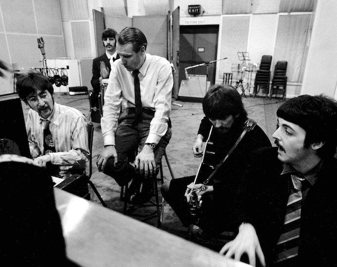 The Beatles in the Recording Studio With Producer George Martin - 5X7, 8X10 or 11X14 Photo (ZZ-027)