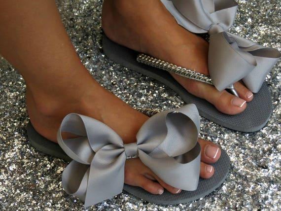 Flops Flip Shoes Grey Silver Flip Gift Shower Bridal Bridal Bow Flops Women's Silver Bridal Wedding Shoes Flip Flat Shoes Flops Grey wz68wTqO