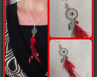 All red dream catcher pendant + silver chain