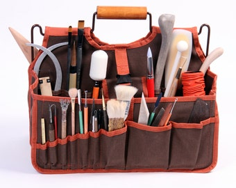 Artist's Tools Bag, Xiem Art Bag, Art Supplies Carrier, Ceramic Tools Tote, Pottery Tools Organizer, Clay Student Tools Transport,  XAB