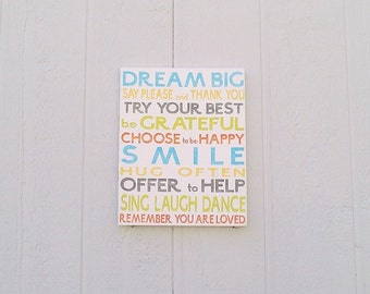 Family Rules Sign Dream Big Hand Painted