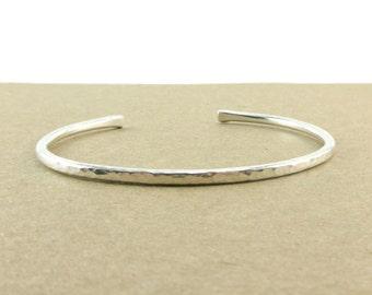 Argentium Silver Hammered Bracelet, Sterling Silver Bracelet, Recycled Silver Cuff, Bangle Bracelet, Hand Forged Bracelet, Gift for Her
