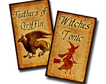Potion Bottle Labels - 0.75 x 1.25 inches - Digital collage sheet- Halloween Decoration
