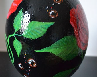 Three Roses / Hand Painted Ostrich Egg