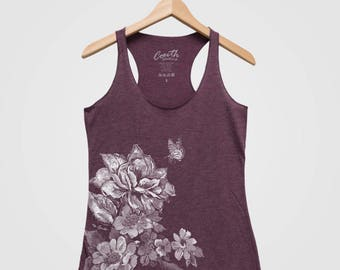 Women's Tank Top, Flower Print Tank Top, Mother's Day Gift, Gift for Mom, Gift for Grandma, Triblend Racerback Tank Top, Hand Screen Print