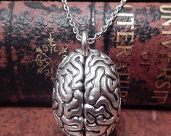 Silver Human Brain Pendant on Chain 1Q