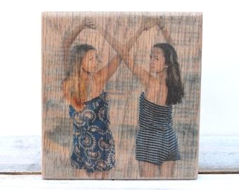 Custom Wood Photo. Photo on Wood. Wooden photograph. Best Friend Gift. Friendship Gift. Wood Portrait. Wood Photo Transfer.