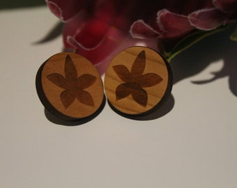 Orchid Flower - Australian Wildflower - Surgical Steel Stud Earrings - Silhouette - Wood Laser Cut - Wood Earrings