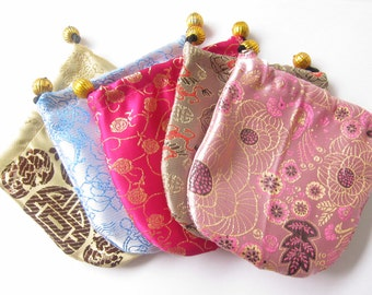"25 Satin and Brocade Drawstring Gift Pouches with Gold Beads 4""x4"""