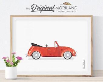 Beetle Printable, Beetle Cabriolet Print, Transportation Wall Art, Toddler Decor, Rerto Printable Car, Girl Room Decor, Vintage Car Print