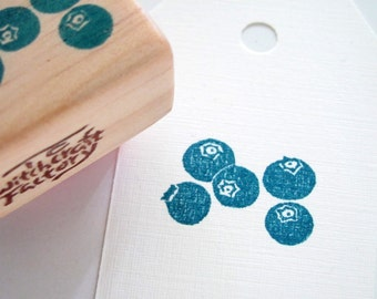 Blueberry Hand Carved Stamp