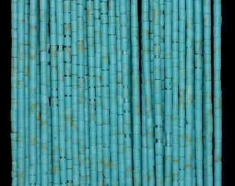 1mm Turquoise Gemstone Blue Round Tube Heishi 1mm Loose Beads 14.5 inch Full Strand (90184304-850)