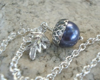 Acorn Necklace Gift For Her Blue Acorn Pendant Pearl Necklace Acorn Jewelry