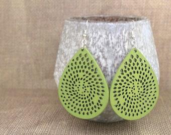 Tear Drop Shape Laser Cut Wood Earrings