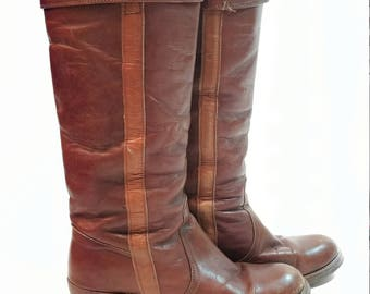 vintage 70s FRYE cuffed knee high distressed leather pull on campus western womans 7.5 all leather boot