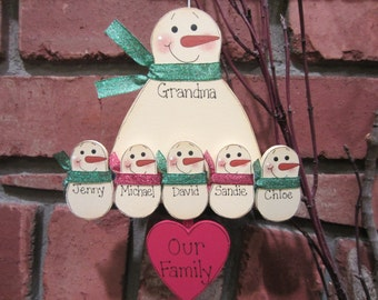 6 Family Members, Personalized Snowman Ornament, Personalized Grandma Ornament, Grandparent Ornament, Grandparent Personalized, Single Adult