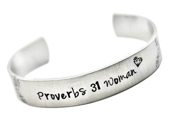 Proverbs 31 Woman Hand stamped cuff bracelet made in USA