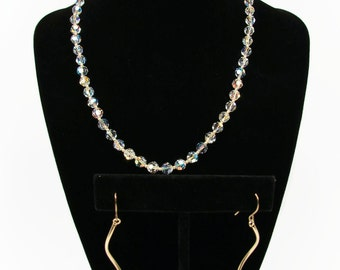 14K Gold Crystal Necklace Earrings, Gold Beads, Marked 14K, Yellow Gold, Crystal Choker, Crystal Earrings, Dangle Earrings