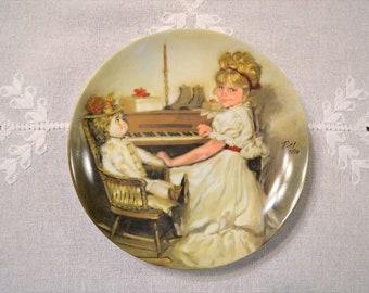 Coras Recital Collectible Plate Richard Zolan Modern Masters Collector Plate 1981 Girl at Piano Vintage Wall Decor PanchosPorch