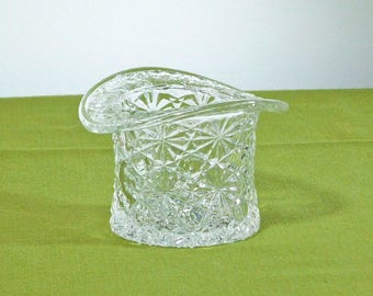 Vintage Fenton Clear Glass Top Hat Dish Vase Bowl Daisy and Button Pattern