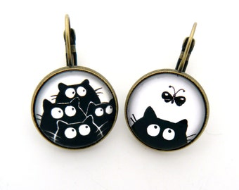 Cats black and butterfly earrings