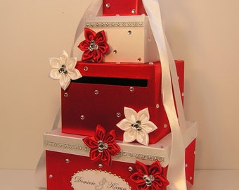 Wedding Card Box Red and White Gift Card Box Money Box Holder--Customize your color