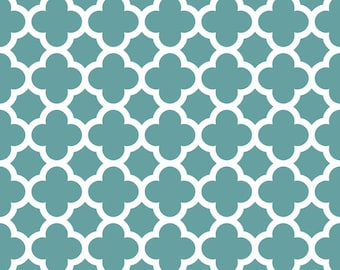 Teal Quatrefoil Fabric - Teal Quatre Foil by Riley Blake Designs - Half Yard - 1/2 Yard