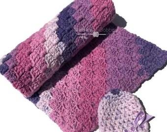 Baby Blanket set, newborn baby hat, crochet blanket, blanket set , baby blanket, Photo prop blanket, Newborn baby set, Baby blanket prop