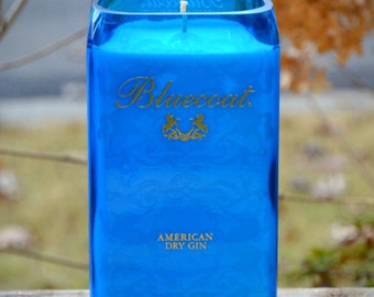 Bluecoat American Dry Gin bottle upcycled into a candle made with soy wax