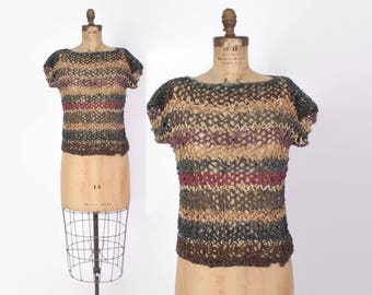 Vintage 70s Woven LEATHER Top / 1970s Boho Loose Striped Crochet Top