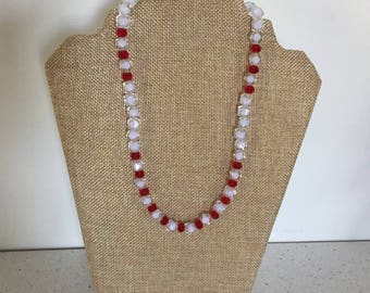 A Faceted Glass Bead Necklace.