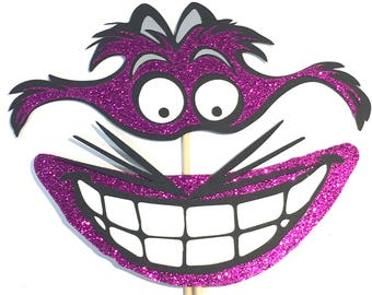 Photo Booth Props -  Alice In Wonderland Cheshire Cat Grin Glitter Pink