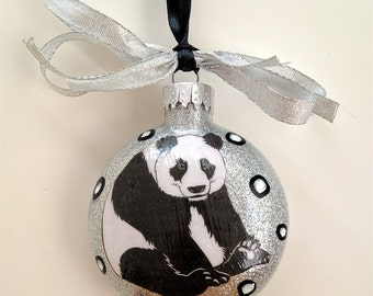 Panda Glass Christmas Ornament, Hand Painted Designs, Image of Panda, Silver Glitter, Gifts 4 Teachers, Neighbors & Friends