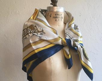 REDUCED * Large equestrian scarf * Vintage Hermès Grand Apparat scarf * Designer silk scarf