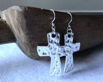 Hammered Silver Cross Earrings, Modern Silver Cross Earrings, Edgy Hammered Silver Cross Earrings