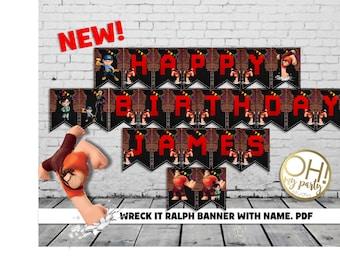 WRECK IT RALPH banner,wreck it ralph birthday,wreck it ralph party,wreck it ralph banner with name,wreck it ralph printable,wreck it ralph 2
