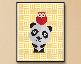 Cute Panda Wall Art - Panda and Owl Art Print - Owl Sitting on Panda Wall Art - Panda Art Gift - Cute Owl Wall Art - Owl with Panda Print