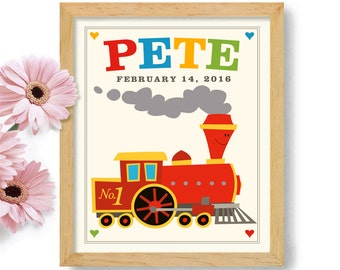 Toy Train Art for Boys Room Personalized Childrens Art Red Train Art Likes Trains Kids Train Decor Childs Room Art Kids Wall Art Locomotive