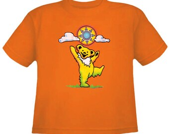 Grateful Dead Kids T Shirt/ Dancing Bear grooving under the sun/ 100% Cotton Youth and Toddler shirts/ Dead and Co
