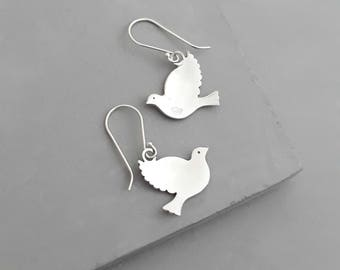 Sterling Silver Dove Earrings - Bird Earrings - Dove jewelry - Sterling Silver Earrings - Dangle Earrings - Bird Jewelry - High-Quality