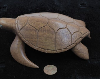 Carved Wooden Tropical Turtle- Hand Carved Micronesian Art