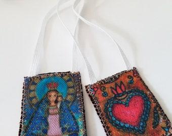 Our Lady of El Cobre Scapular -   Handmade - Original Art by FLOR LARIOS