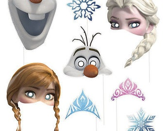 8 Disney Frozen Elsa Anna Olaf Birthday Party Favor Treat Photo Props W/Stick