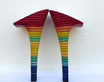 """Pair of rainbow colours upholstered  high ( 4 1/2"""")  heels for women shoemaking/shoe repair with heel tips"""
