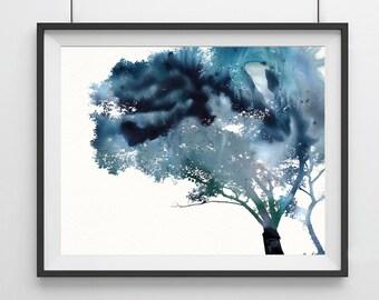 Watercolor Tree Art Print - Blue - Tree art Print - Home decor