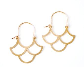 Vintage Inspired Ogee Earrings | Wave Earrings | Geometric Earrings | Gold Hoop Earrings | Sterling Silver Hoop Earrings | Moroccan Earrings
