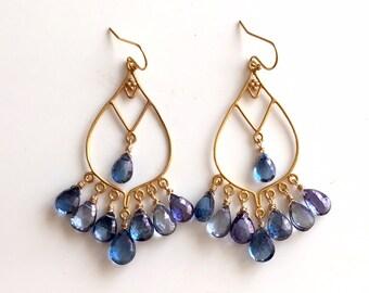 Mystic Tanzanite Goddess Chandeliers, gold or silver, Boho jewelry, Gemstone Jewelry, Gift Idea