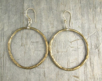 Gold Hoop Earrings - Circle of Life Earrings - Large Hoops - Ancient Bronze (EB-CHPL)