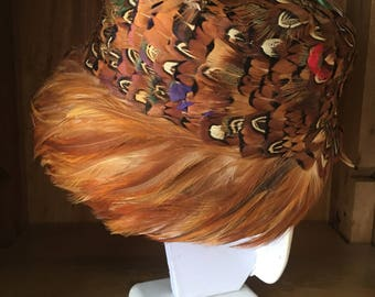 Vintage Feather Hat. Made in Japan. Like New. Pheasant Pill Box Hat. 1960s