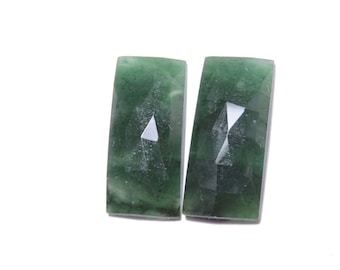 2 Pcs Matched Pair Natural Green Onyx Faceted Rose Cut Fancy Shaped Loose Gemstone Beads .100% Natural Beads. Size 21X10 MM